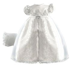Lauren Madison baby girl Christening Baptism Newborn Embroidered Satin Gown  Whi #LaurenMadison #Gown