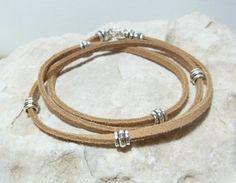 Pewter Studded Beige Leather Wrap Bracelet for Men by CrushOnYou, $18.00
