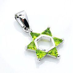 """Jewish Star of David"" Sterling Silver Green CZ Pendant T"