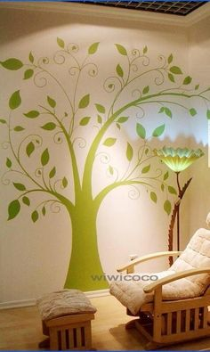 Green Tree with butterfly--74inches--Removable Vinyl wall decals Wall Sticker Tree butterfly wall decal
