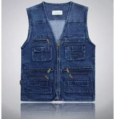 Latest waistcoat designs for men jeans denim vests male with many pockets fashion tactical vest men sleeveless jacket Denim Vest Men, Denim Waistcoat, Jean Vest, Vest Jacket, Denim Overalls, Sleeveless Denim Jackets, Sleeveless Jacket, Waistcoat Designs, Fishing Jacket