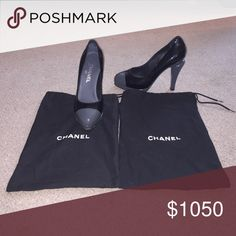 Chanel Grey and Black Cap Toe Artistic Heels 8 38 100% Authentic purchased at Chanel Boutique in Boston on Newbury St. Grey cap toe, sole and contrasting heel. Black patent upper. Note cut out detail in heel. Both shoe bags included. Size 38 (8). CHANEL Shoes Heels