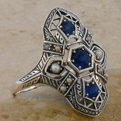 Art Deco Natural Sapphire, Seed Pearl, & .925 Sterling Silver Ring Size 8 on Etsy, $93.00