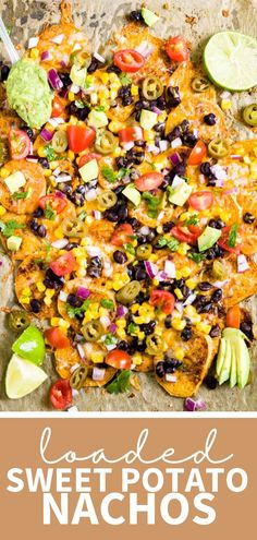 Sheet pan sweet potato nachos are loaded with healthy ingredients like black beans, corn and avocado. Customize this healthy appetizer to make it vegan, paleo or top with whatever you have in the pantry. This recipe makes a great appetizer, especially for tailgate season! Sweet Potato Nachos, Sweet Potato Skins, Loaded Sweet Potato, Great Appetizers, Healthy Appetizers, Appetizer Recipes, Healthy Baking, Healthy Food, Healthy Recipes
