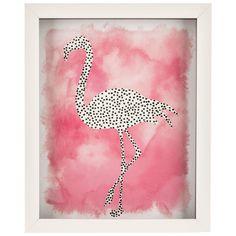 Hobby Lobby-Watercolor Dotted Flamingo Framed Wall Art