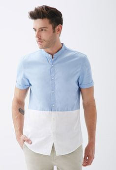 Colorblocked Mandarin Collar Shirt from Forever Saved to things i like but will never be able to wear. Chinese Collar Shirt, Mandarin Collar Shirt, Mens Fashion Wear, Fall Fashion, Style Fashion, Half Sleeve Shirts, Mens Designer Shirts, White Shirt Men, Herren Outfit