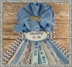Bow Tie Mommy To Be Corsage Blue Baby Shower by BloomingParty