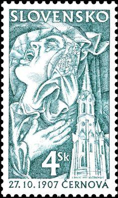 Stamp: Cernova 1907 (Slovakia) (Anniversary) Mi:SK 295,Sn:SK 287,Yt:SK 253,AFA:SK 276,POF:SK 135