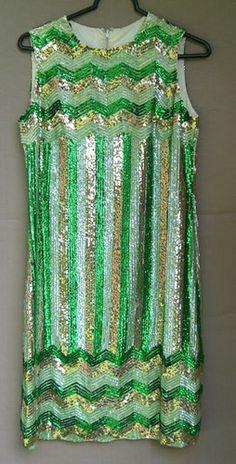 Vintage 1960s Geometric Sequin  Dress