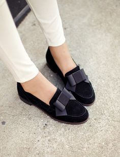 feminine ribbon loafer shoes-Ra-s37164