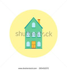Vector house, home symbol. Flat design icon. Architecture estate illustration. Building with trees, door, windows. Blue, green, yellow, colors. - stock vector