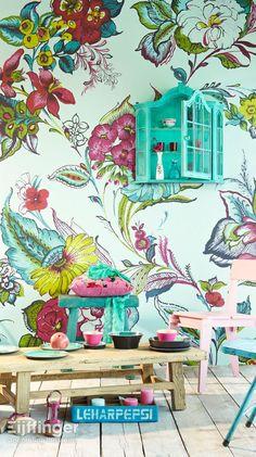 Eijffinger behang Ibiza - blauw, geel, groen, rood, roze - 330277. Bloemen
