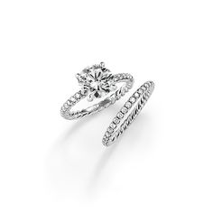 Mix or match a David Yurman wedding band and a brilliant diamond engagement ring to create a distinctive, personal effect.