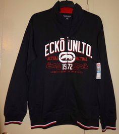 Young Mens Rugby Stripe 1//4-Zip Sweater Ecko Unltd
