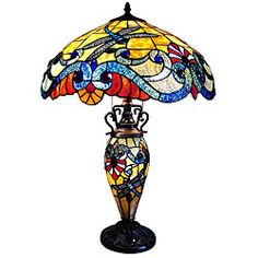 Tiffany Style Dragonfly Double Lit Bronze Finish Table Lamp