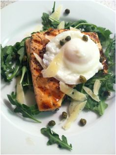 Arugula Salmon Salad with Capers and Shaved Parmesan!