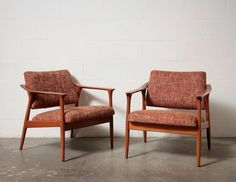 Pair of Upholstered Danish Lounge Chairs with Wood Arms and Frame
