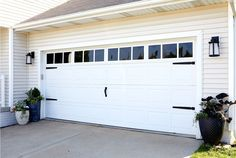 These Faux Garage Door Windows are the Brightest Thing We've Ever Seen Upgrade your curb appeal with garage door accessories and window panels that look custom but are easy to install in just a couple of hours. Faux Garage Door Windows, White Garage Doors, Garage Door Hinges, Carriage Garage Doors, Diy Garage Door, Best Garage Doors, Garage Door Makeover, Home Exterior Makeover, Garage Door Design