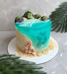 Pretty Birthday Cakes, Pretty Cakes, Cute Cakes, Beach Birthday Cakes, Sweet Cakes, Ocean Cakes, Beach Cakes, Gateau Aux Oreos, Food Cakes