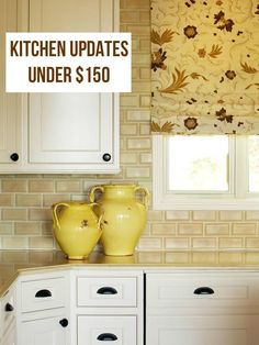 Kitchen Updates for Under $150! decor, white cabinet, affordable kitchen, kitchen updates, roman shades, kitchen renovations, subway tiles, open shelving, knob