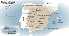 Mapa de las ciudades españolas patrimonio mundial.