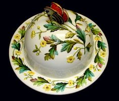 George Jones Majolica Butterfly Cheese Dome 1880