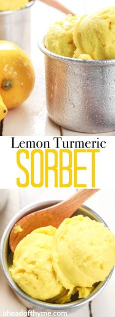 Grab a few easy ingredients, throw them in the blender and in a fews hours, a refreshing and unbelievably healthy lemon turmeric sorbet will be all set and ready for digging in!! | aheadofthyme.com #sorbet #icecream #summer #dessert #lemon via @aheadofthyme