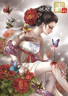 ❈ Geisha by Sky ❈ Art Geisha, Geisha Kunst, Anime Kunst, Anime Art, Japan Kultur, Geisha Tattoos, Art Chinois, Art Asiatique, Art Japonais