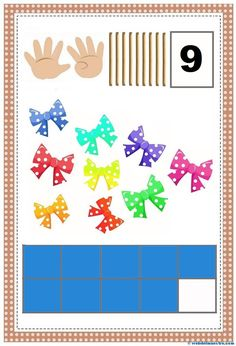 Conteo-cartel 9- Funny Numbers, Math Numbers, Animated Numbers, File Folder Games, Math For Kids, Teaching Math, Math Activities, Diy And Crafts, Alphabet