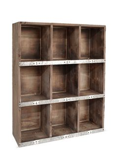 Superbe Weathered Wood Wall Shelf With Numbered Shelves. Product: Wall  ShelfConstruction Material: Wood And MetalColor: NaturalDimensions: H X 19  W X 7 D