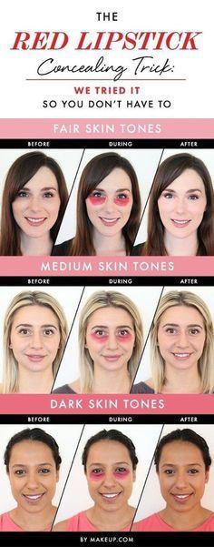 Red Lipstick and Concealer MakeUp Tip