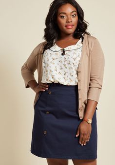 Down to Business Trench Skirt. Whether it's a professional endeavor or personal project you choose to pursue, this navy blue skirt will see that you do it with sophistication! #blue #modcloth