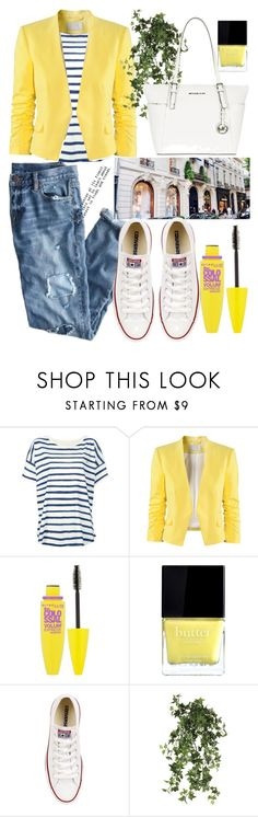 """""""city style"""" by furtosalexandra ❤ liked on Polyvore featuring J.Crew, Tsumori Chisato, H&M, Maybelline, Butter London, Yves Saint Laurent, Converse, OKA, MICHAEL Michael Kors and yellow"""