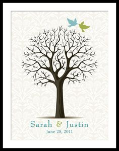 Wedding Guest Book Damask Guest Signature Thumb Print Wedding Tree POSTER pdf JPEG FILE Small Medium Large