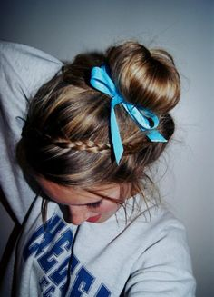 bun with ribbon and braid | Long Hair Styles How To