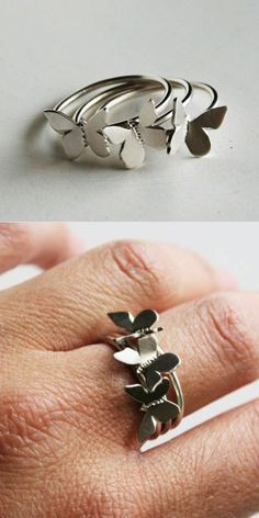 Butterfly Stacking Ring Set