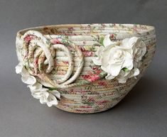 Your place to buy and sell all things handmade Rope Crafts, Craft Stick Crafts, Rope Basket, Basket Weaving, Upcycled Crafts, Sewing Crafts, Fabric Bowls, Fabric Basket, Storage Pods
