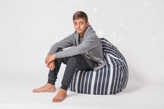 Pozitive Bean Bags - We make quality indoor and outdoor bean bags in a large variety of shapes, colors, patterns, and material. Black White Stripes, Blue And White, Outdoor Bean Bag, Dark Colors, Baby Blue, Playroom, Bean Bag Chair, Kids Room, Relax