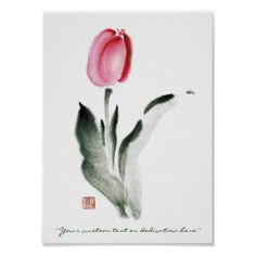 Classic oriental chinese sumi-e ink flower tulip posters
