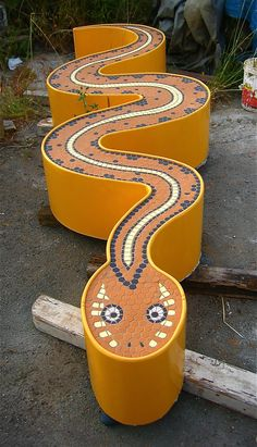 Snake Bench Mosaic by Interplay Design w/ Rachel Rodi