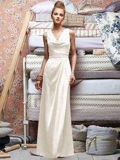 (NO.018825 )Sheath / Column V-neck  Ruffles  Sleeveless Floor-length Chiffon White Bridesmaid Dress / Prom Dress / Evening Dress