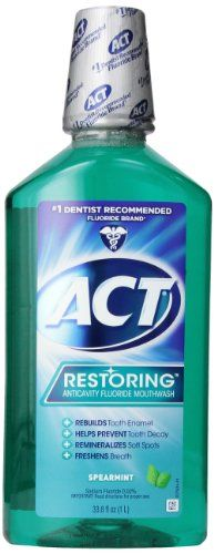 ACT Restoring Anti Cavity Fluoride Mouthwash Spearmint, 33.8 Ounce Bottles (Pack of 3) Act Mouthwash http://www.amazon.com/dp/B001H54RB0/ref=cm_sw_r_pi_dp_YriZtb0G4BD8V2MX