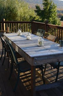 made from weathered pallets.  This would be great for our big family to eat outside.  DS