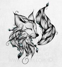 LouJah - Fox B&W #loujah #art #illustration #illustrations…