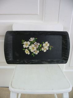 Vintage Tray Black Serving Dogwood Flowers White by vintagejane, $14.00