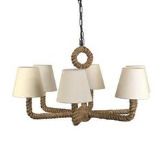 ROPE WRAPPED CHANDELIER W: 6 NATURAL LINEN SHADES.jpg