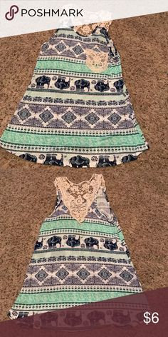 Super cute tank top with Croquet straps & back NWOT navy blue, cream and mint green are the colors in this adorable top Rue 21 Tops Tank Tops