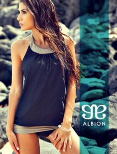 Tummy-hiding and oh so pretty! The Blousy Swimsuit from Albion. #albionswims #modestswimwear