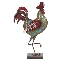 DecMode Painted Flat Metal Rooster Figurine - 68447
