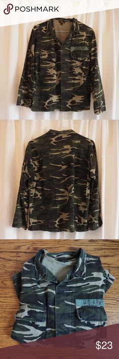 Camo army jacket Hardly worn camo button up jacket (size small but can fit up to a large) normally warn over sized Jackets & Coats